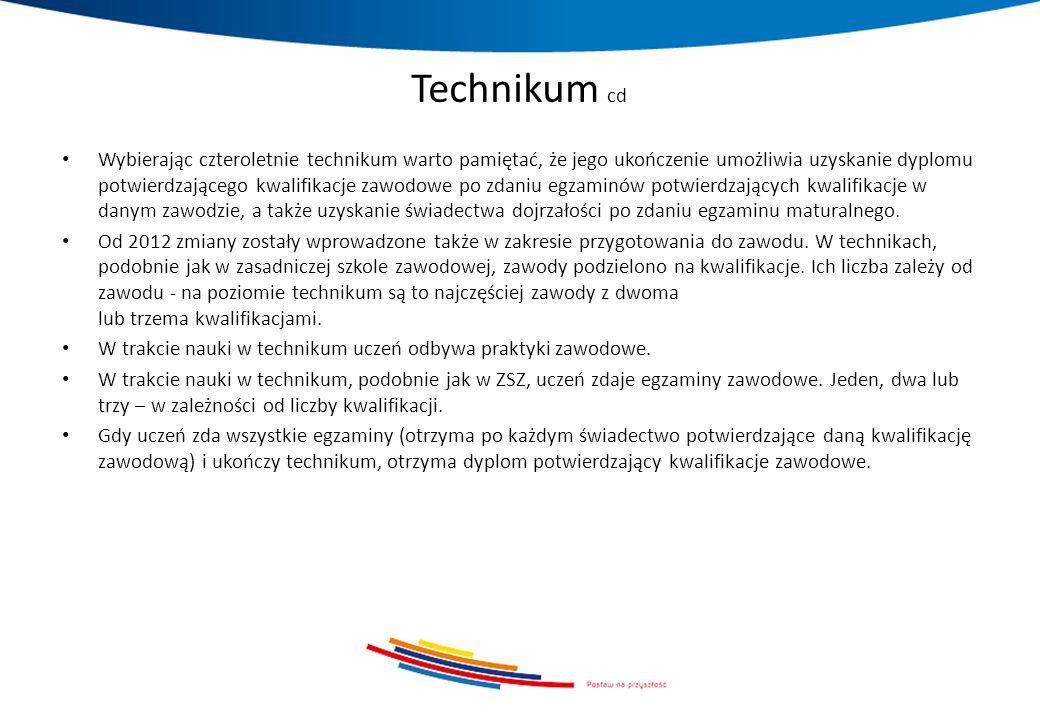 Technikum cd Wybierając czteroletnie technikum warto pamiętać, że jego ukończenie umożliwia uzyskanie dyplomu potwierdzającego kwalifikacje zawodowe p