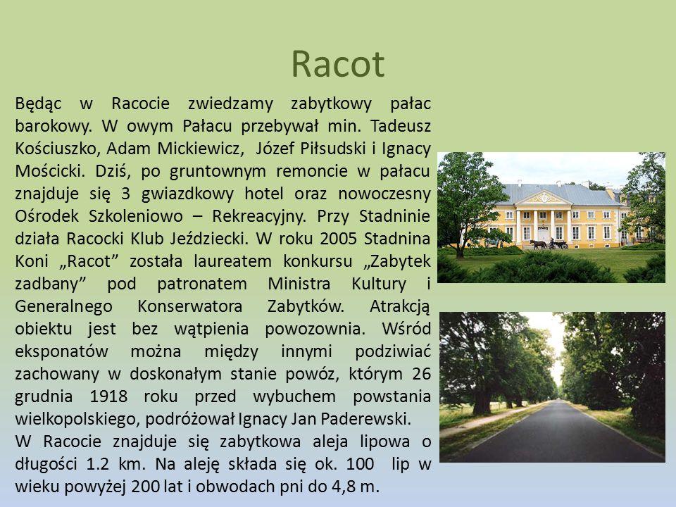 Racot Będąc w Racocie zwiedzamy zabytkowy pałac barokowy. W owym Pałacu przebywał min. Tadeusz Kościuszko, Adam Mickiewicz, Józef Piłsudski i Ignacy M