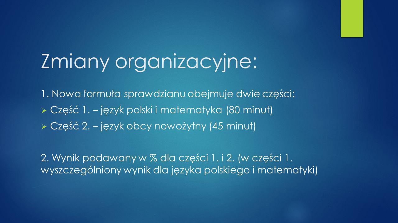 Zmiany organizacyjne: 1. Nowa formuła sprawdzianu obejmuje dwie części:  Część 1. – język polski i matematyka (80 minut)  Część 2. – język obcy nowo