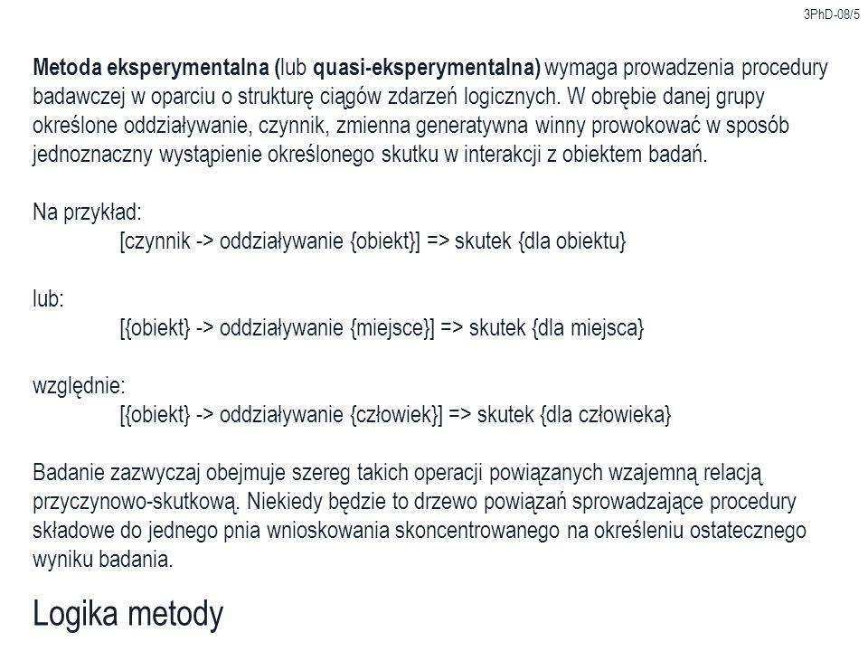 3PhD-08/5 Logika metody Metoda eksperymentalna ( lub quasi-eksperymentalna) wymaga prowadzenia procedury badawczej w oparciu o strukturę ciągów zdarze