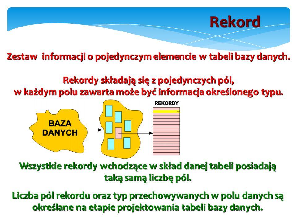 Zestaw informacji o pojedynczym elemencie w tabeli bazy danych.