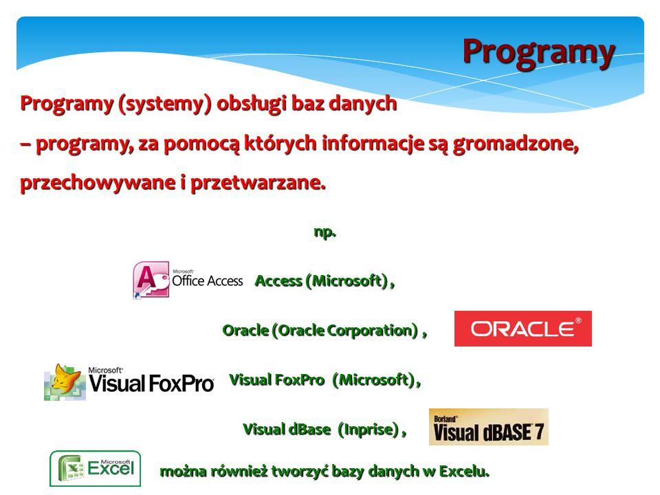 Programy (systemy) obsługi baz danych – programy, za pomocą których informacje są gromadzone, przechowywane i przetwarzane.