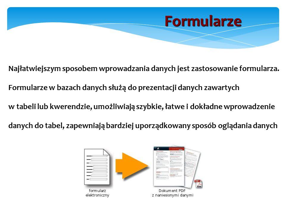 Najłatwiejszym sposobem wprowadzania danych jest zastosowanie formularza.