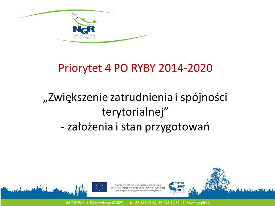 """Priorytet 4 PO RYBY 2014-2020 """"Zwiększenie zatrudnienia i spójności terytorialnej"""" - założenia i stan przygotowań Unia Europejska Europejski Fundusz R"""