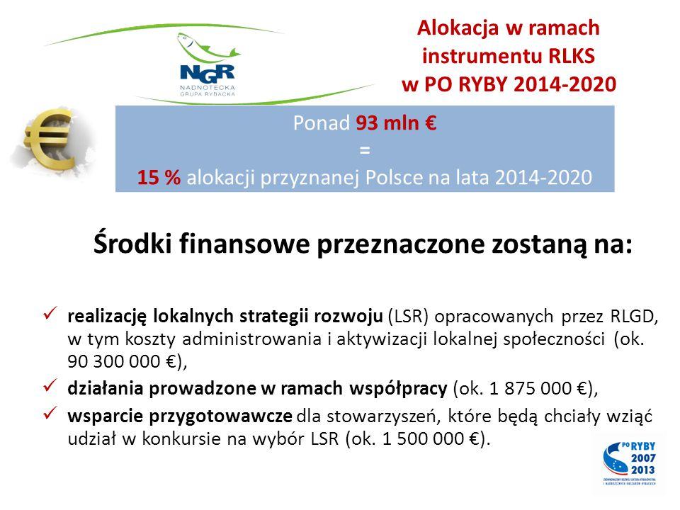 Alokacja w ramach instrumentu RLKS w PO RYBY 2014-2020 Środki finansowe przeznaczone zostaną na: realizację lokalnych strategii rozwoju (LSR) opracowa