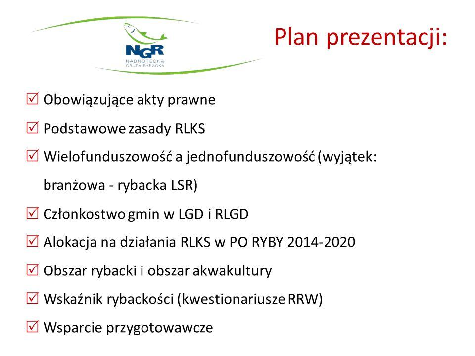 Plan prezentacji:  Obowiązujące akty prawne  Podstawowe zasady RLKS  Wielofunduszowość a jednofunduszowość (wyjątek: branżowa - rybacka LSR)  Czło