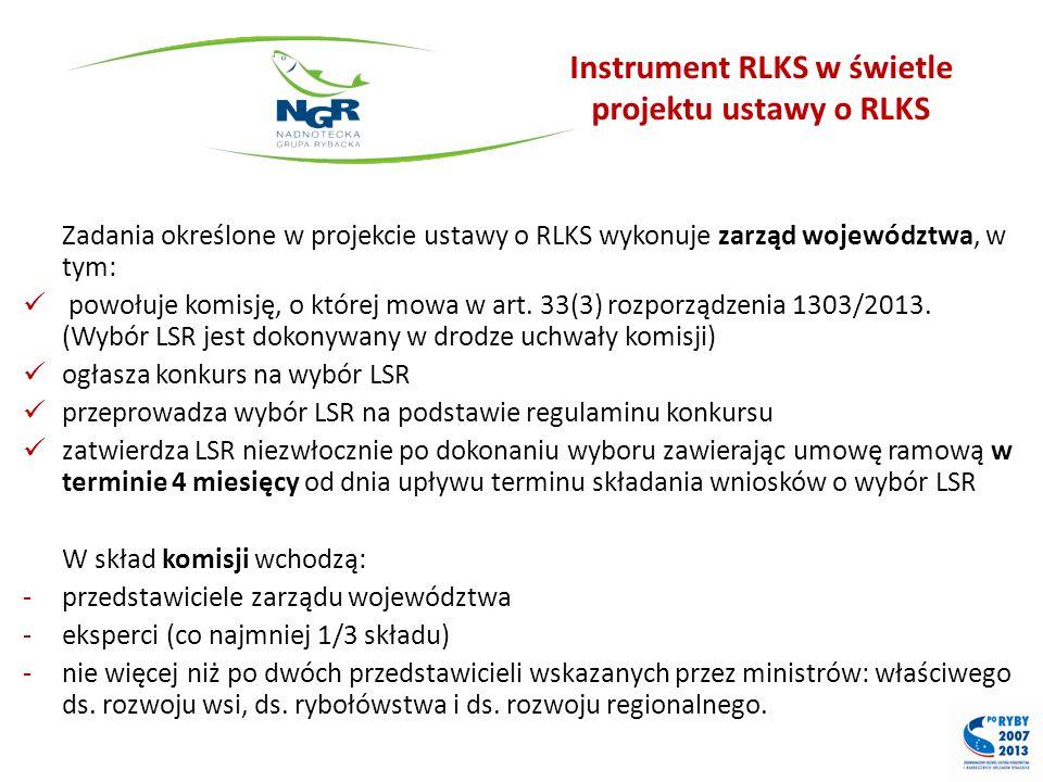 Instrument RLKS w świetle projektu ustawy o RLKS Zadania określone w projekcie ustawy o RLKS wykonuje zarząd województwa, w tym: powołuje komisję, o k