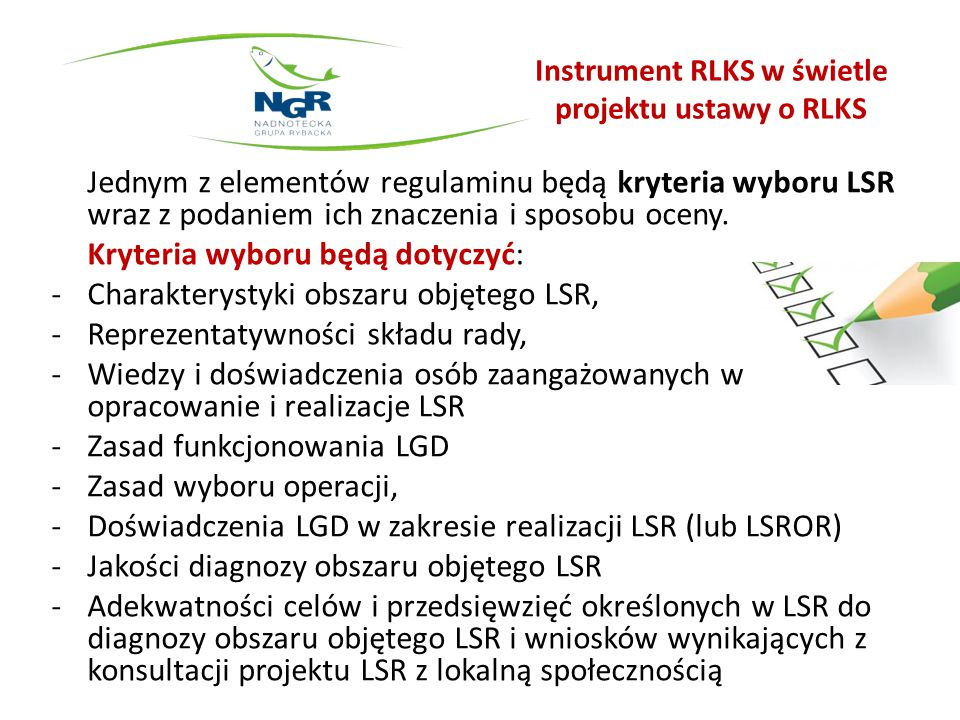 Instrument RLKS w świetle projektu ustawy o RLKS c.d.