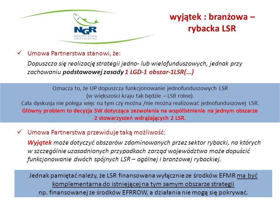 Członkostwo gmin w LGD i RLGD Projekt ustawy o rozwoju lokalnym z udziałem lokalnej społeczności (RLKS) oraz uzasadnienie do ustawy: Uzasadnienie do ustawy o RLKS: Wyjątkiem od zasady 1 LGD-1 obszar-1LSR mogą być LSR współfinasowane jedynie ze środków EFMR (LSR rybacka) – w takim przypadku dopuszcza się objęcie przez LSR rybacką obszaru, który jest również objęty LSR współfinansowaną z innych niż EFMR funduszy EFSI.