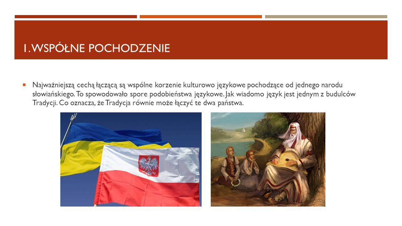 1. WSPÓŁNE POCHODZENIE  Najważniejszą cechą łączącą są wspólne korzenie kulturowo językowe pochodzące od jednego narodu słowiańskiego. To spowodowało