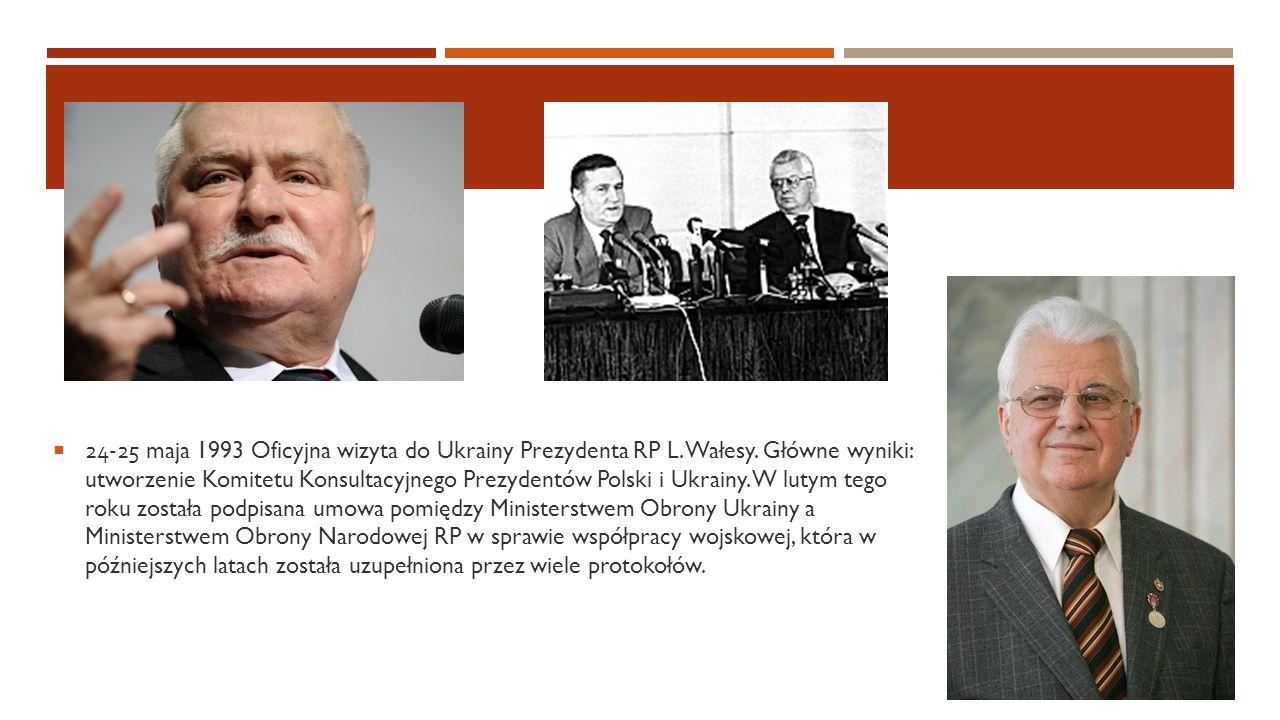  24-25 maja 1993 Oficyjna wizyta do Ukrainy Prezydenta RP L. Wałesy. Główne wyniki: utworzenie Komitetu Konsultacyjnego Prezydentów Polski i Ukrainy.