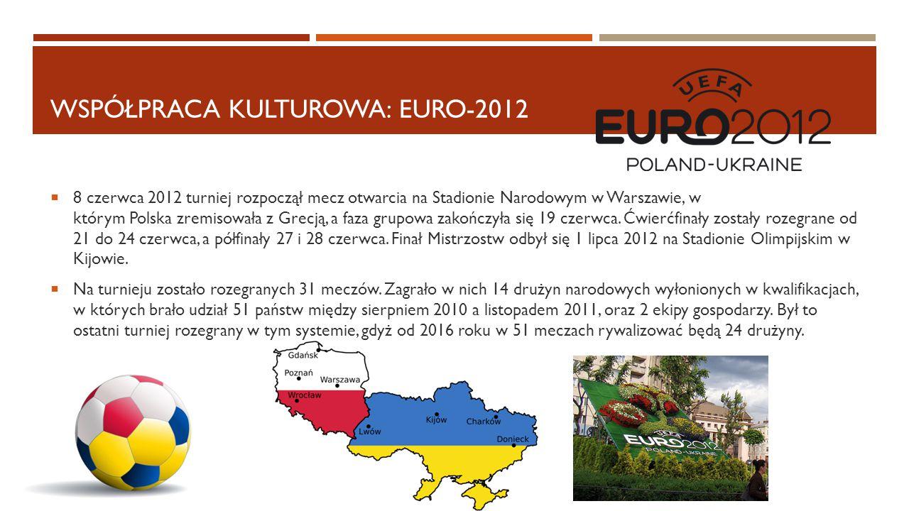 WSPÓŁPRACA KULTUROWA: EURO-2012  8 czerwca 2012 turniej rozpoczął mecz otwarcia na Stadionie Narodowym w Warszawie, w którym Polska zremisowała z Gre