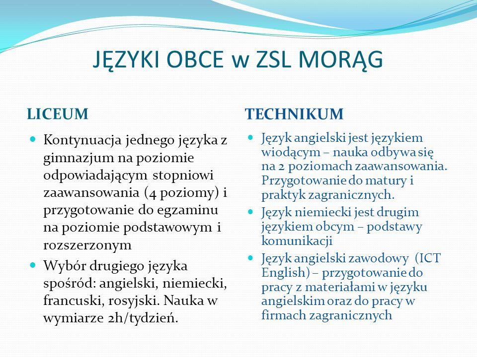 JĘZYKI OBCE w ZSL MORĄG LICEUM TECHNIKUM Kontynuacja jednego języka z gimnazjum na poziomie odpowiadającym stopniowi zaawansowania (4 poziomy) i przyg