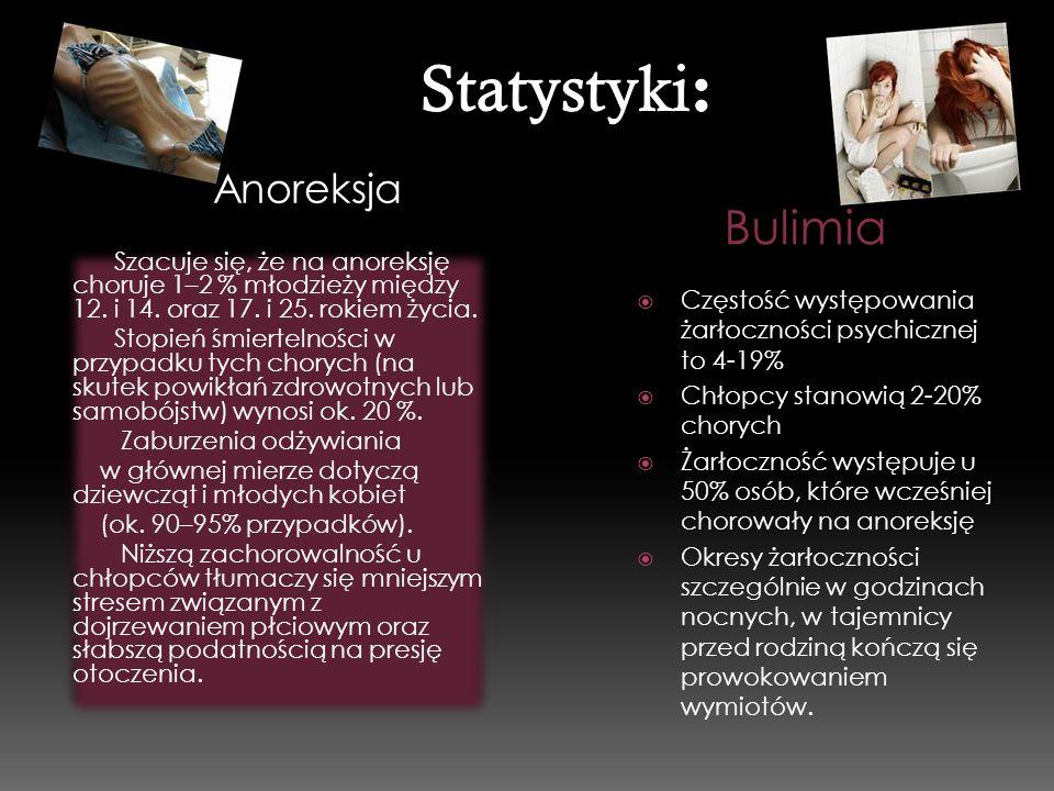 Anoreksja Bulimia Szacuje się, że na anoreksję choruje 1–2 % młodzieży między 12. i 14. oraz 17. i 25. rokiem życia. Stopień śmiertelności w przypadku
