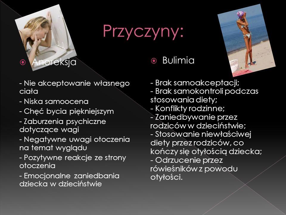  Anoreksja - Nie akceptowanie własnego ciała - Niska samoocena - Chęć bycia piękniejszym - Zaburzenia psychiczne dotyczące wagi - Negatywne uwagi oto