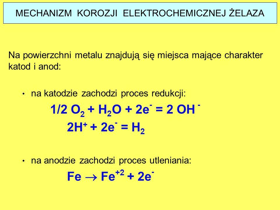 Na powierzchni metalu znajdują się miejsca mające charakter katod i anod: na katodzie zachodzi proces redukcji: 1/2 O 2 + H 2 O + 2e - = 2 OH - 2H + +