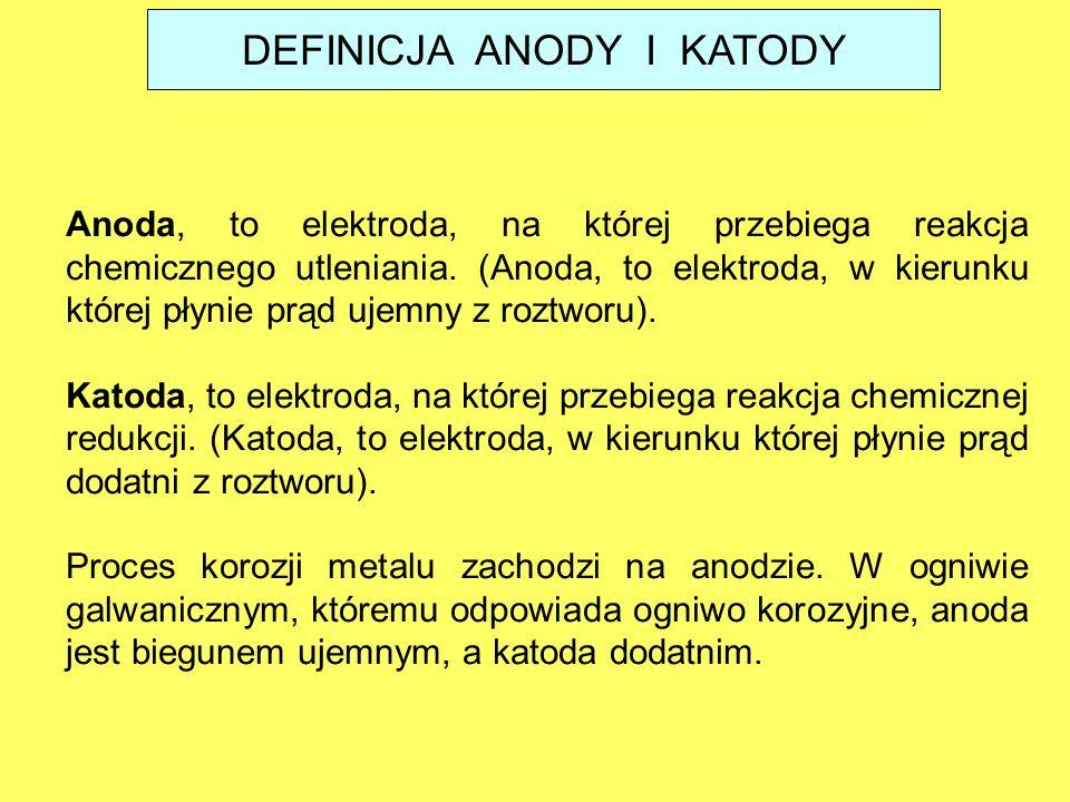 DEFINICJA ANODY I KATODY Anoda, to elektroda, na której przebiega reakcja chemicznego utleniania. (Anoda, to elektroda, w kierunku której płynie prąd