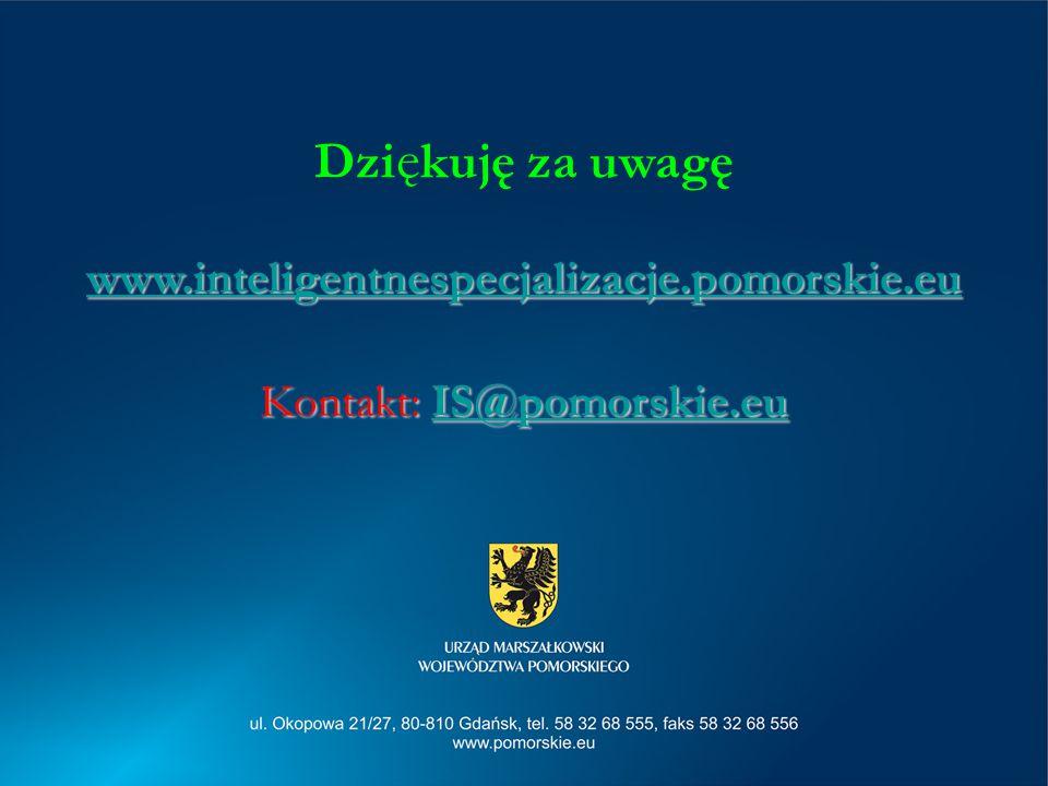 Dzi ę kuję za uwagę www.inteligentnespecjalizacje.pomorskie.eu Kontakt: IS@pomorskie.eu IS@pomorskie.eu