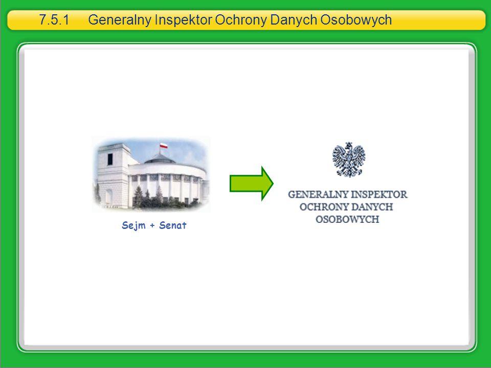 7.5.1Generalny Inspektor Ochrony Danych Osobowych Sejm + Senat