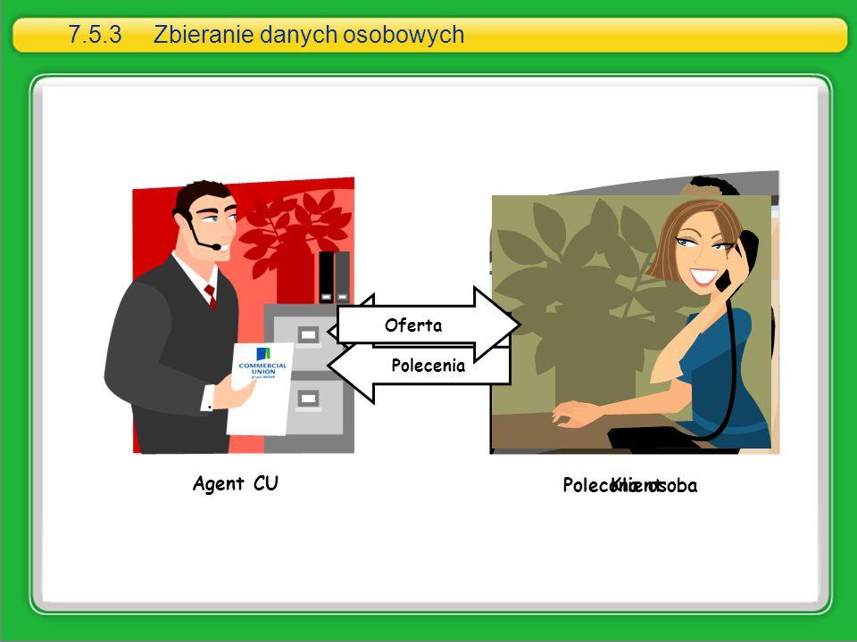 Agent CU Klient Dane osobowePolecenia Polecona osoba Oferta 7.5.3Zbieranie danych osobowych