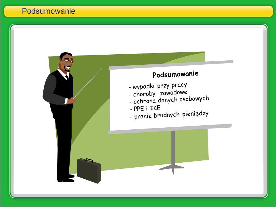 Podsumowanie - wypadki przy pracy - choroby zawodowe - ochrona danych osobowych - PPE i IKE - pranie brudnych pieniędzy