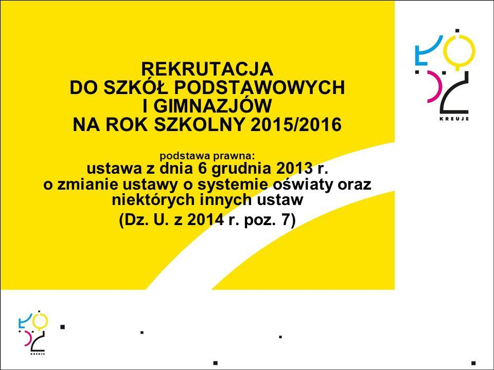 REKRUTACJA DO SZKÓŁ PODSTAWOWYCH I GIMNAZJÓW NA ROK SZKOLNY 2015/2016 podstawa prawna: ustawa z dnia 6 grudnia 2013 r. o zmianie ustawy o systemie ośw