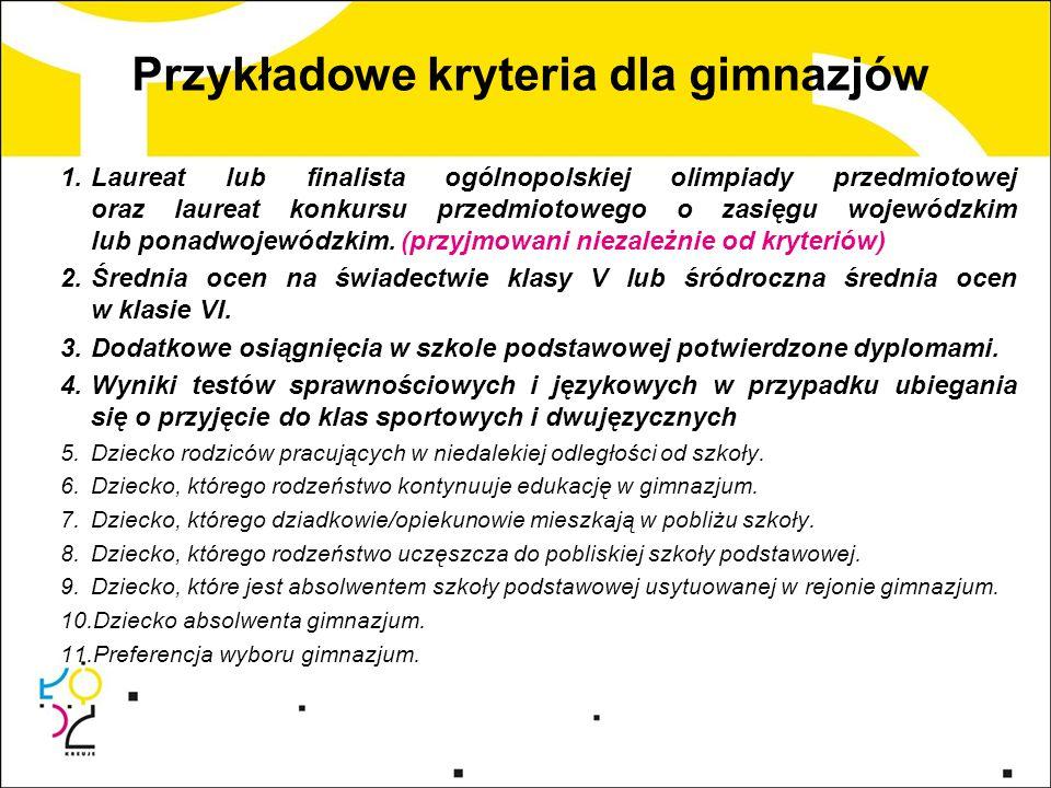 Przykładowe kryteria dla gimnazjów 1.Laureat lub finalista ogólnopolskiej olimpiady przedmiotowej oraz laureat konkursu przedmiotowego o zasięgu wojew