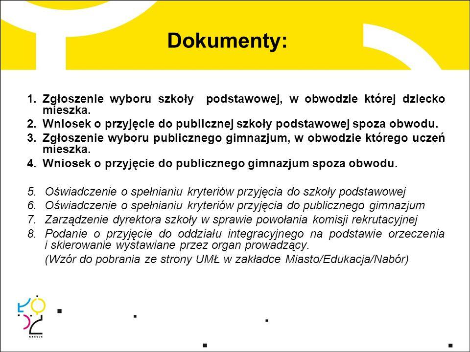 Dokumenty: 1.Zgłoszenie wyboru szkoły podstawowej, w obwodzie której dziecko mieszka. 2.Wniosek o przyjęcie do publicznej szkoły podstawowej spoza obw