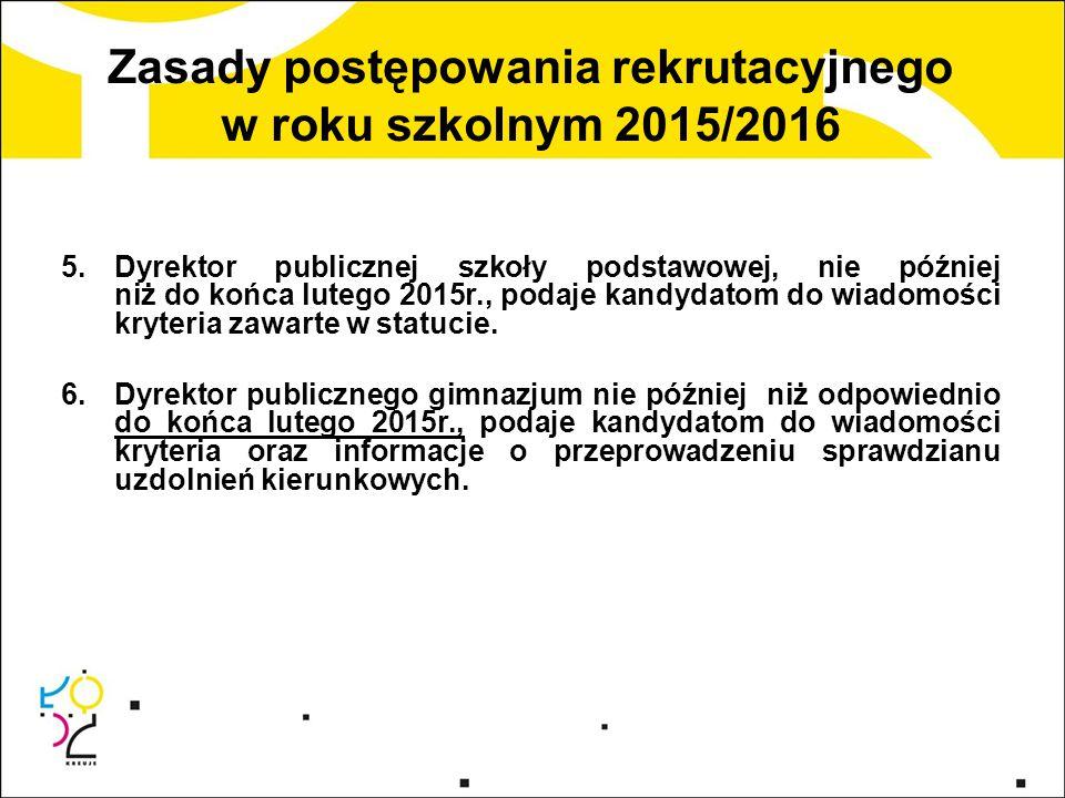 Zasady postępowania rekrutacyjnego w roku szkolnym 2015/2016 5.Dyrektor publicznej szkoły podstawowej, nie później niż do końca lutego 2015r., podaje
