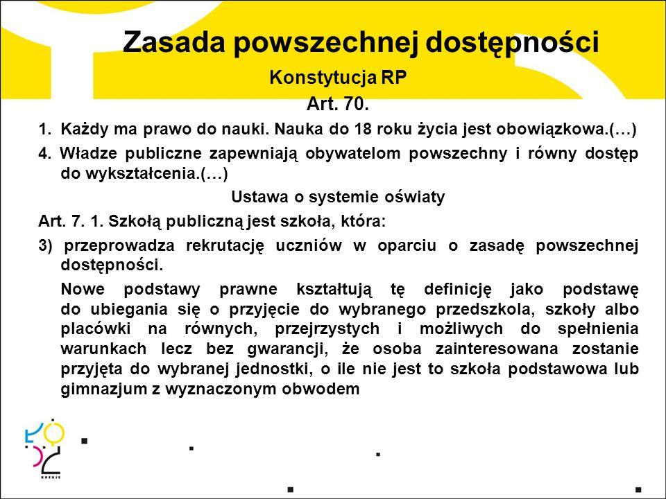 Zasada powszechnej dostępności Konstytucja RP Art. 70. 1.Każdy ma prawo do nauki. Nauka do 18 roku życia jest obowiązkowa.(…) 4. Władze publiczne zape