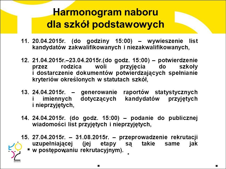 11.20.04.2015r. (do godziny 15:00) – wywieszenie list kandydatów zakwalifikowanych i niezakwalifikowanych, 12.21.04.2015r.–23.04.2015r.(do godz. 15:00