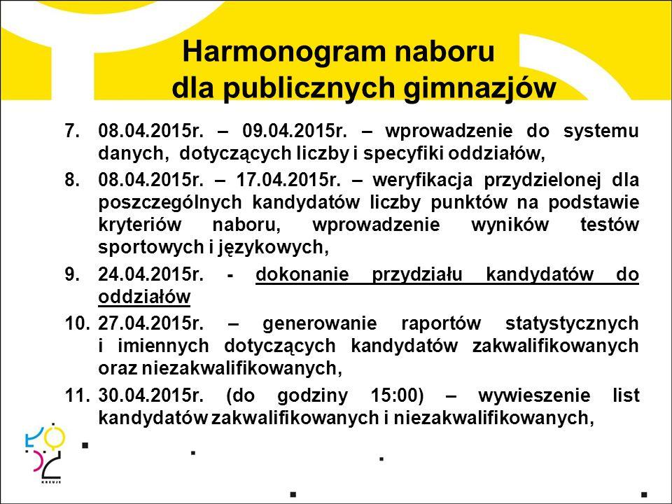 Harmonogram naboru dla publicznych gimnazjów 7.08.04.2015r. – 09.04.2015r. – wprowadzenie do systemu danych, dotyczących liczby i specyfiki oddziałów,