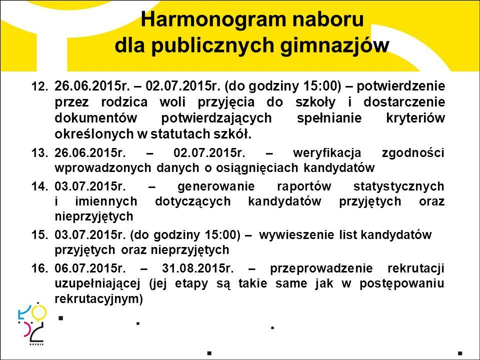 Harmonogram naboru dla publicznych gimnazjów 12. 26.06.2015r. – 02.07.2015r. (do godziny 15:00) – potwierdzenie przez rodzica woli przyjęcia do szkoły