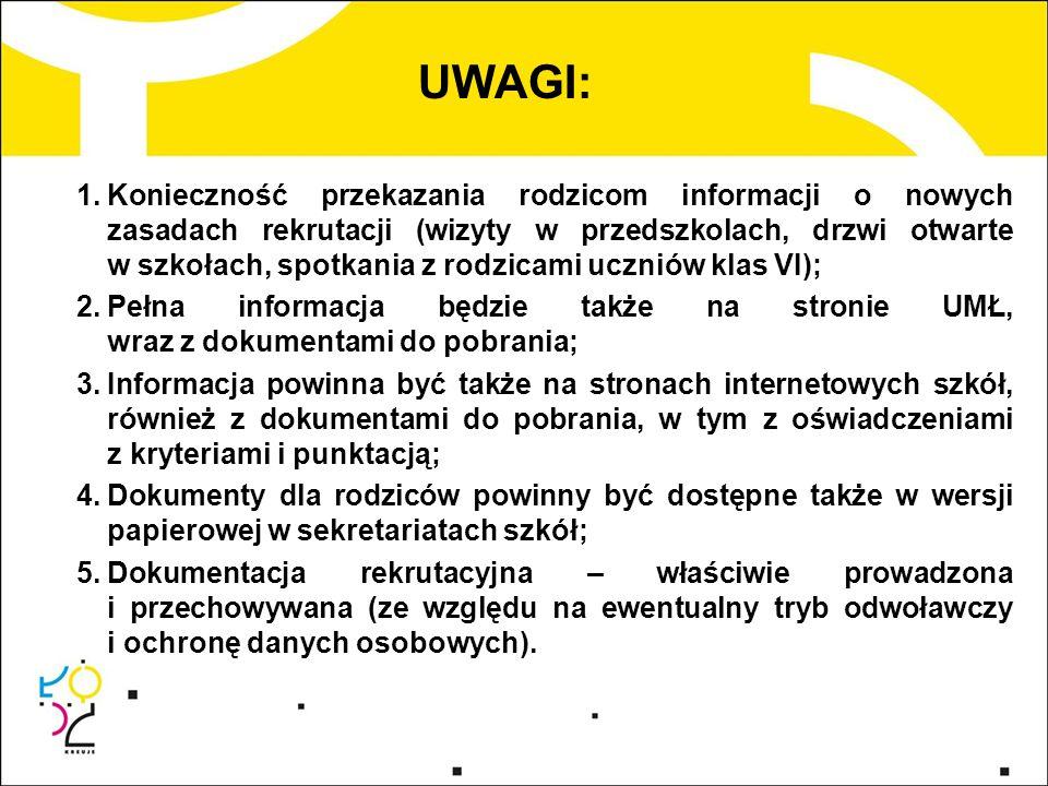 UWAGI: 1.Konieczność przekazania rodzicom informacji o nowych zasadach rekrutacji (wizyty w przedszkolach, drzwi otwarte w szkołach, spotkania z rodzi