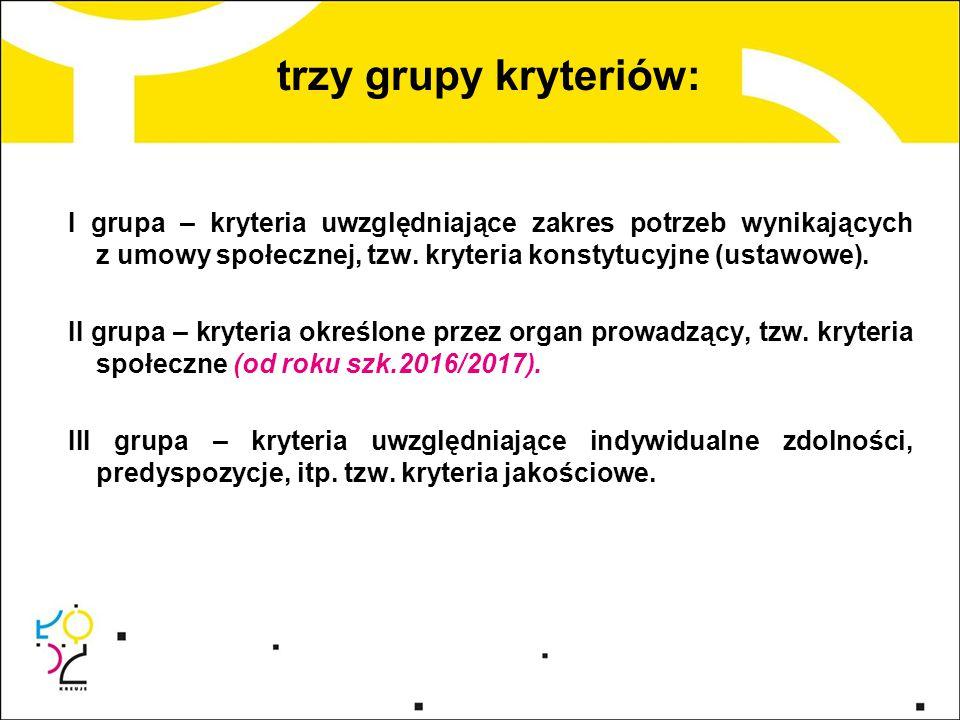 trzy grupy kryteriów: I grupa – kryteria uwzględniające zakres potrzeb wynikających z umowy społecznej, tzw. kryteria konstytucyjne (ustawowe). II gru