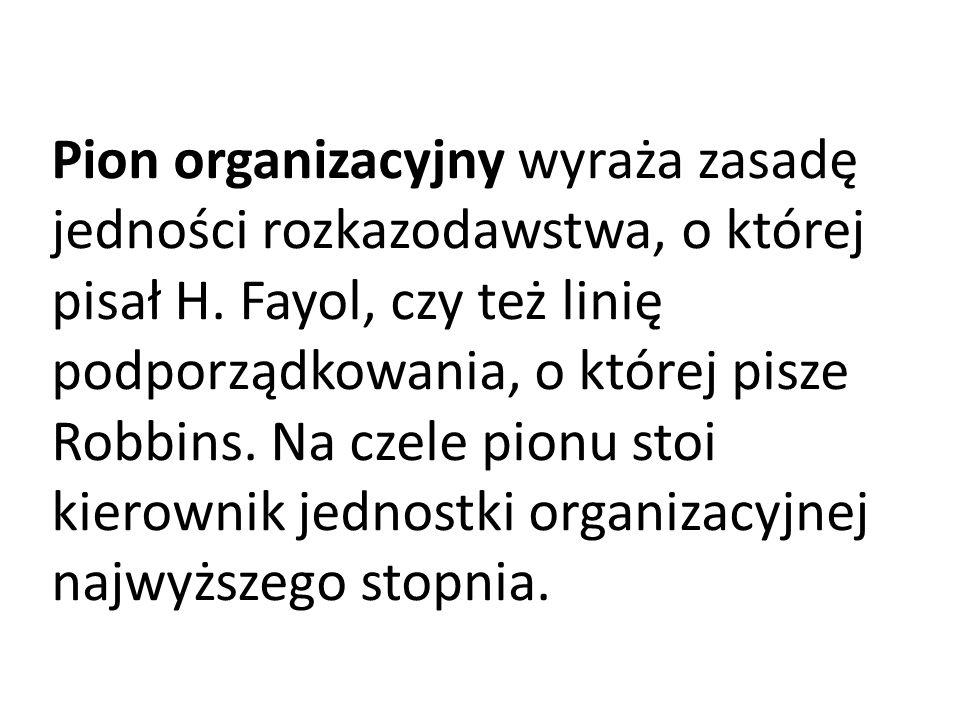 Pion organizacyjny wyraża zasadę jedności rozkazodawstwa, o której pisał H. Fayol, czy też linię podporządkowania, o której pisze Robbins. Na czele pi