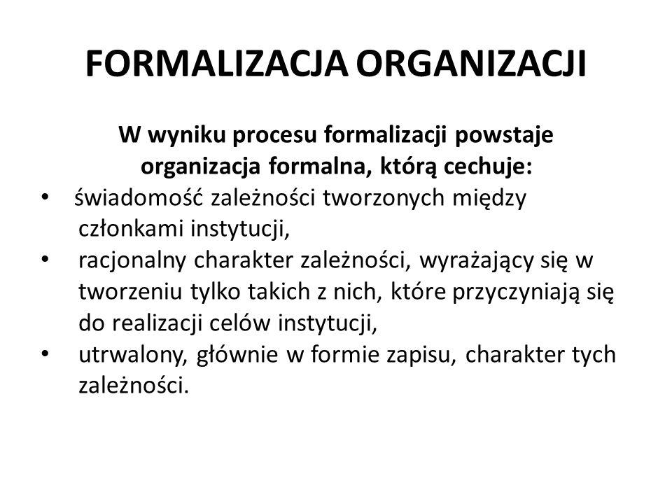 FORMALIZACJA ORGANIZACJI W wyniku procesu formalizacji powstaje organizacja formalna, którą cechuje: świadomość zależności tworzonych między członkami instytucji, racjonalny charakter zależności, wyrażający się w tworzeniu tylko takich z nich, które przyczyniają się do realizacji celów instytucji, utrwalony, głównie w formie zapisu, charakter tych zależności.