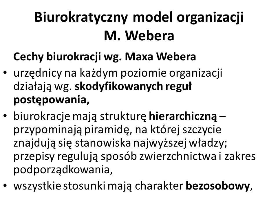 Biurokratyczny model organizacji M. Webera Cechy biurokracji wg. Maxa Webera urzędnicy na każdym poziomie organizacji działają wg. skodyfikowanych reg