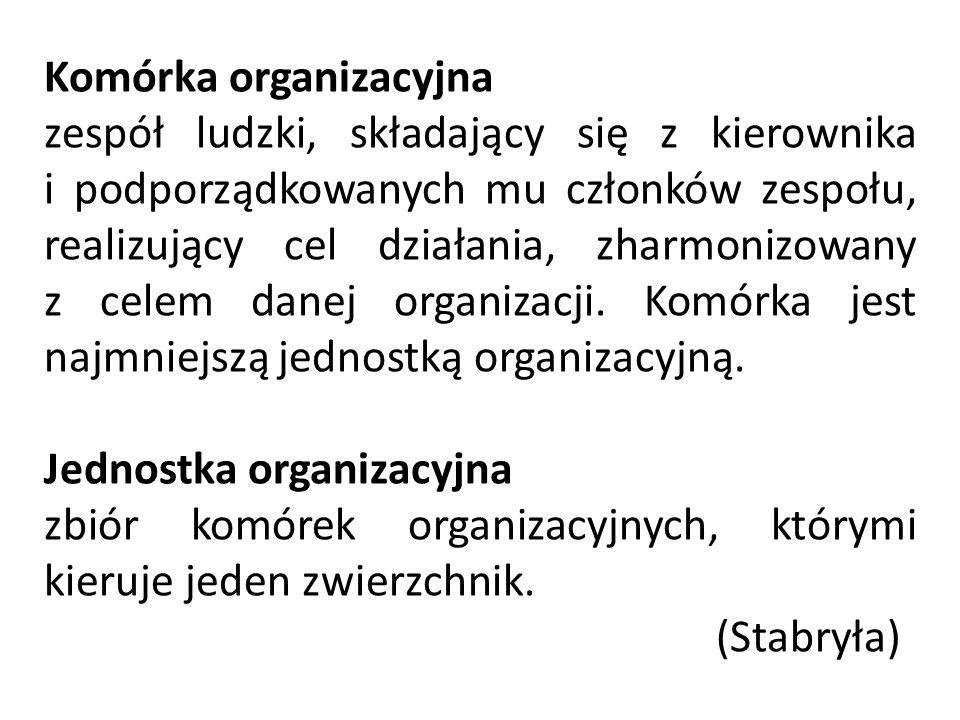 Komórka organizacyjna zespół ludzki, składający się z kierownika i podporządkowanych mu członków zespołu, realizujący cel działania, zharmonizowany z