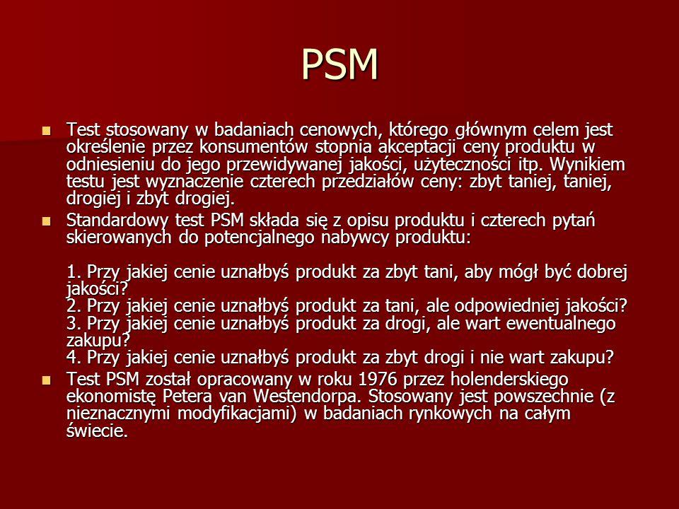 PSM Test stosowany w badaniach cenowych, którego głównym celem jest określenie przez konsumentów stopnia akceptacji ceny produktu w odniesieniu do jeg