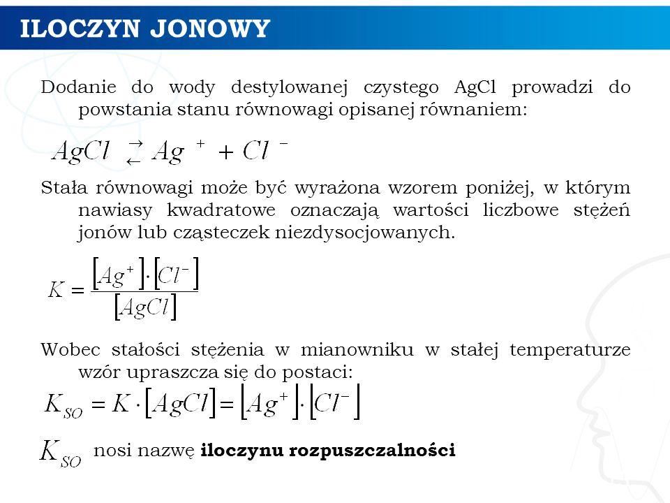 ILOCZYN JONOWY Dodanie do wody destylowanej czystego AgCl prowadzi do powstania stanu równowagi opisanej równaniem: Stała równowagi może być wyrażona