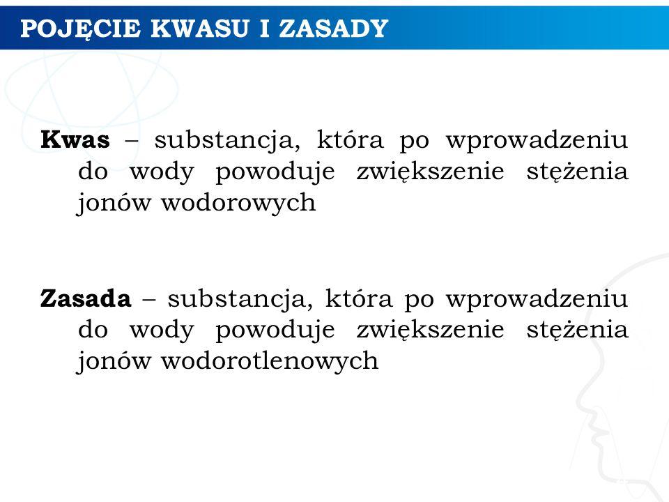 POJĘCIE KWASU I ZASADY Kwas – substancja, która po wprowadzeniu do wody powoduje zwiększenie stężenia jonów wodorowych Zasada – substancja, która po w