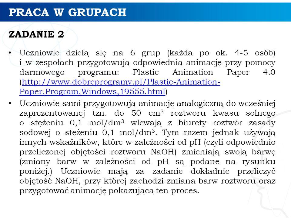 PRACA W GRUPACH ZADANIE 2 Uczniowie dzielą się na 6 grup (każda po ok. 4-5 osób) i w zespołach przygotowują odpowiednią animację przy pomocy darmowego