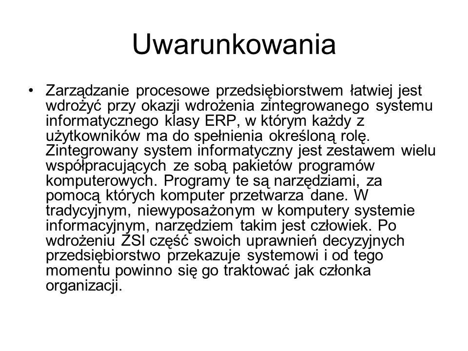 Uwarunkowania Zarządzanie procesowe przedsiębiorstwem łatwiej jest wdrożyć przy okazji wdrożenia zintegrowanego systemu informatycznego klasy ERP, w k
