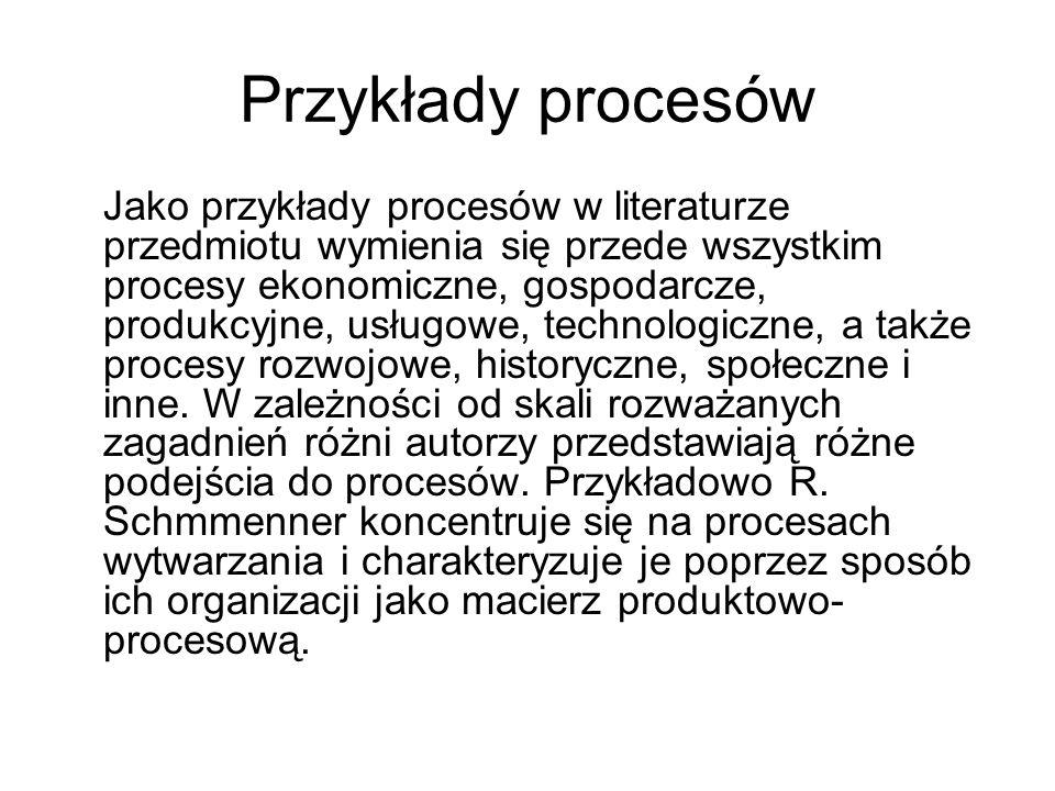 Przykłady procesów Jako przykłady procesów w literaturze przedmiotu wymienia się przede wszystkim procesy ekonomiczne, gospodarcze, produkcyjne, usług