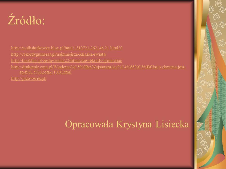 Źródło: http://molksiazkowyy.blox.pl/html/1310721,262146,21.html?0 http://rekordyguinessa.pl/najmniejsza-ksiazka-swiata/ http://booklips.pl/zestawieni