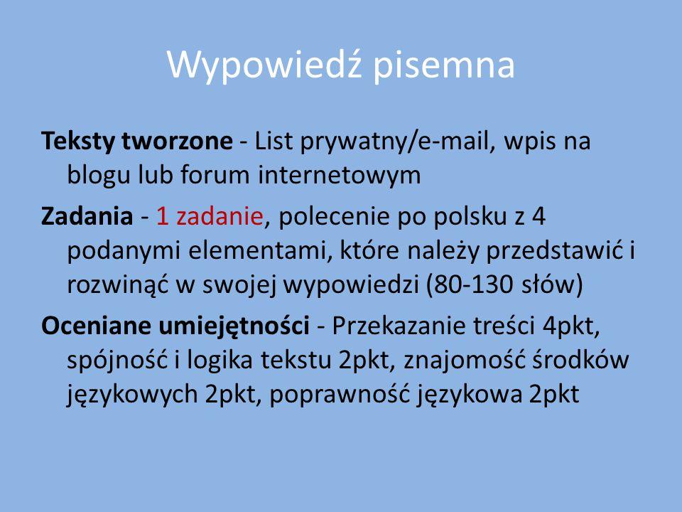 Wypowiedź pisemna Teksty tworzone - List prywatny/e-mail, wpis na blogu lub forum internetowym Zadania - 1 zadanie, polecenie po polsku z 4 podanymi e