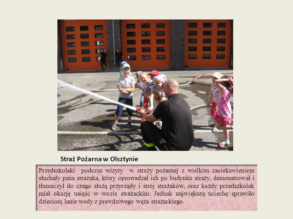 Straż Pożarna w Olsztynie Przedszkolaki podczas wizyty w straży pożarnej z wielkim zaciekawieniem słuchały pana strażaka, który oprowadzał ich po budy