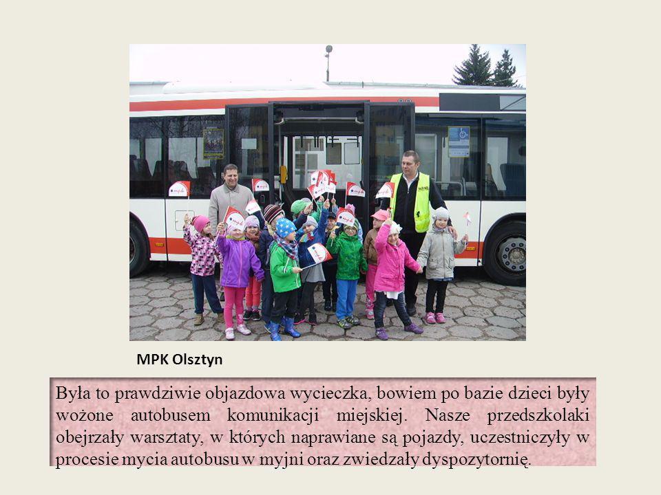 MPK Olsztyn Była to prawdziwie objazdowa wycieczka, bowiem po bazie dzieci były wożone autobusem komunikacji miejskiej. Nasze przedszkolaki obejrzały
