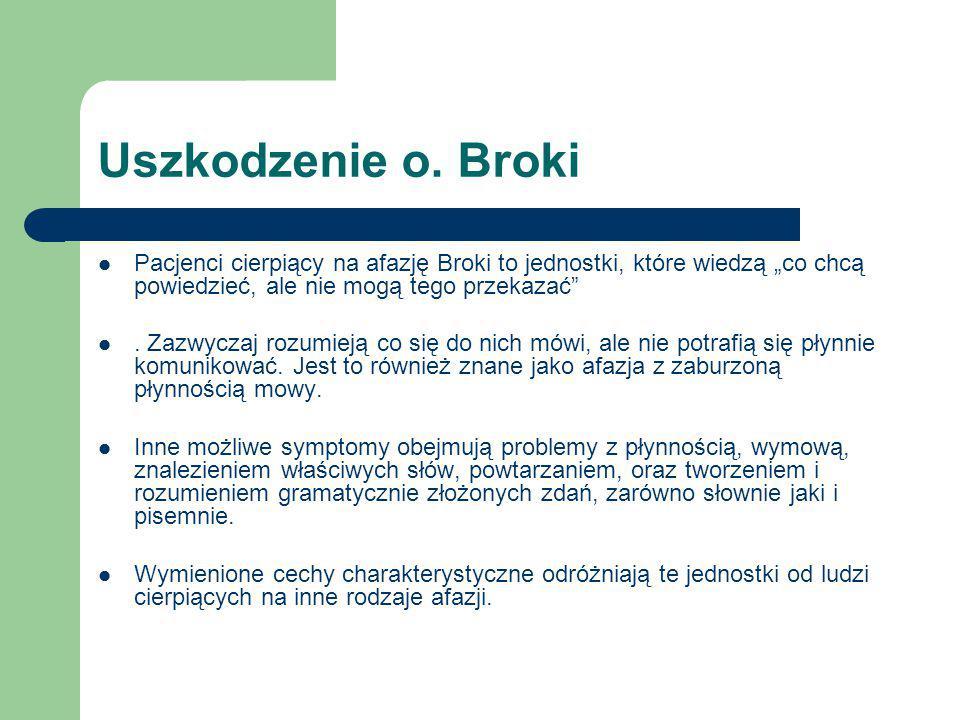 """Uszkodzenie o. Broki Pacjenci cierpiący na afazję Broki to jednostki, które wiedzą """"co chcą powiedzieć, ale nie mogą tego przekazać"""". Zazwyczaj rozumi"""